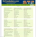 435 Vocabulary Word Lists listed alphabeticly